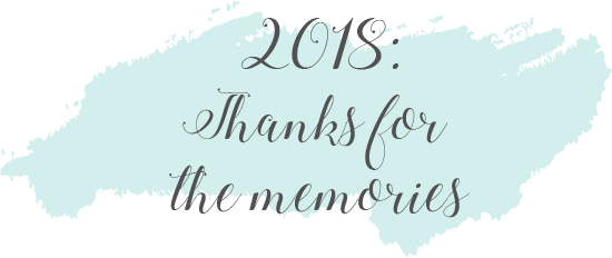 """A light blue paint blob with text that reads """"2018: Thanks for the memories"""""""