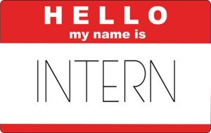 """Name tag that reads """"Hello my name is intern"""""""