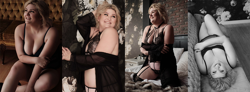 Collage of four photos from my boudoir shoot where I'm confident in my skin and smiling.