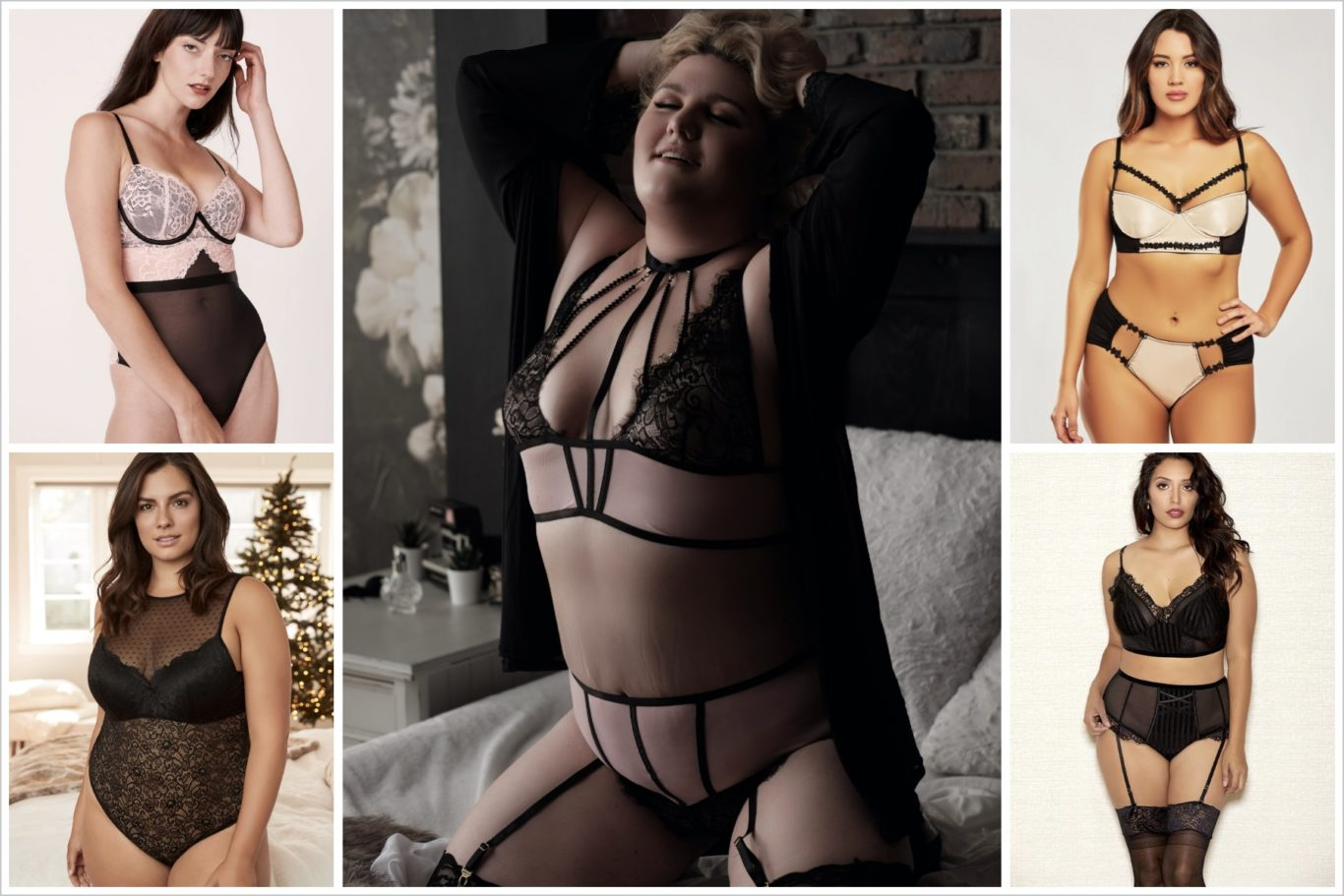 Four different models in various lingerie, with a photo of me in the middle in my bra set during my boudoir shoot